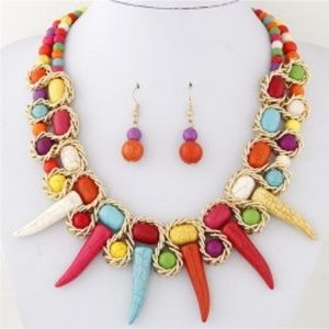Jewelry - Turquoise Beast Teeth Statement Necklace & Earring